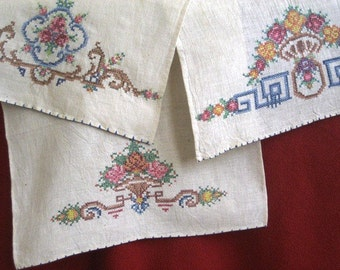 Three Exquisite Linen Tea Towels from 1940's