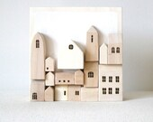 Miniature Wood Wall Town - Original 3D Art