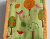 Ready to Ship // Orange Hand Dyed Burp Cloth with Kaufman On A Whim II Fabric