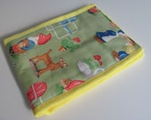 Ready to Ship // Lawn Art Gnomes on Yellow Hand Dyed Burp Cloth