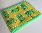 Ready to Ship // Urban Landscapes Flowers and Rectangles on Bright Green Hand Dyed Burp Cloth