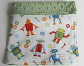 Robot Factory Organic Fabric with Green Minky Dot Security Blanket Lovey