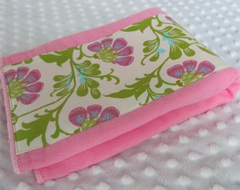 Bubble Gum Pink Hand Dyed Burp Cloth with Amy Butler Daisy Chain Sweet Jasmine Fabric