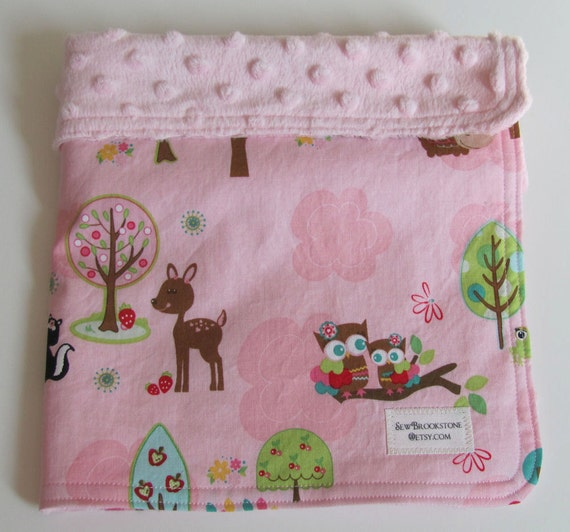 Hoo's In The Forest Fabric with Pink Minky Security Blanket Lovey