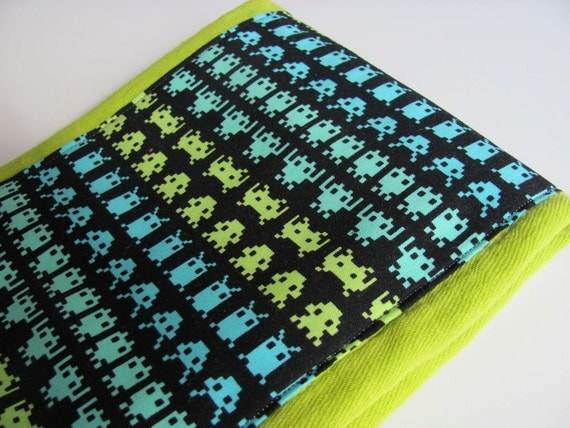 Chartreuse Hand Dyed Burp Cloth with Alien Space Invaders Fabric