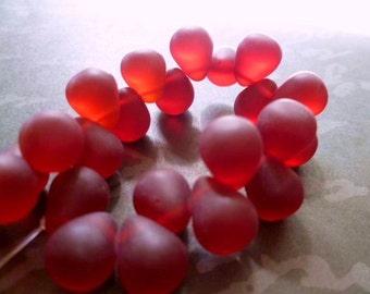 Matt, Mist red glass quartz teardrops-11x9mm- Full strand, 23p