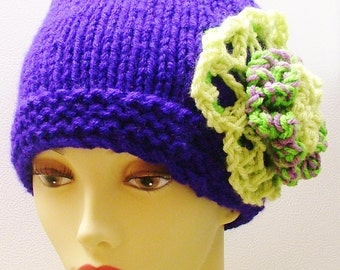 SALE  Deep Purple Hat with Apple Green Light Purple Blower