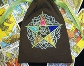 Five Elements Embroidered Tarot Rune Drawstring Bag 5X7