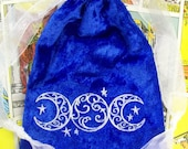 Buy 1 Get 2nd 50% off! Use Code BLACKFRIDAY50 Embroidered Filigree Triple Moon 5 X 7 inch Tarot Rune Crystal Drawstring Pouch Bag