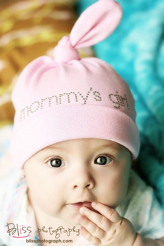 Baby Girl Hat Mommy's Girl Crystal Word Cotton Beanie Hat, 0-18 Months, Many Colors