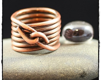 Wire Wrapped Statement Ring Large- Copper- Stacked ring