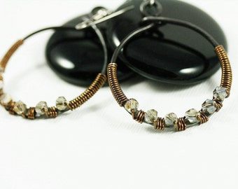 Hoop Earring Steel and Crystal Wire Wrapped