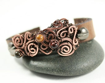 Leather Cuff Bracelet Copper Wire Wrap with Beads .5 inch