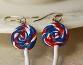 July 4th Earrings - - RED, WHITE and BLUE- Lollipop Polymer Clay- 4th of July- Summer Time-