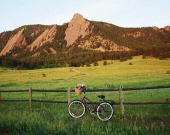 Boulder Colorado , Bike Print , Bike Photography , Flatirons Boulder, Chautauqua Boulder , Wall Art , Canvas Print , Bike Art , Beach Bike
