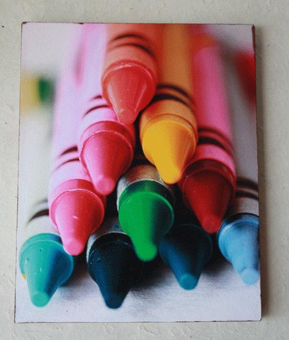 Shelf Art, Crayola Crayon Macro Photograph, Child's Playroom, Wall Art,  Home Decore, Colorful Crayon Art Work, Crayola Crayon, Wood Panel