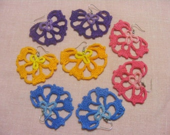 Crocheted flower earrings in yellow, purple, pink and blue, Egyptian cotton yarn