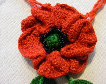 "Egyptian cotton crochet lame ""Poppies"" pendant - FREE SHIPPING"