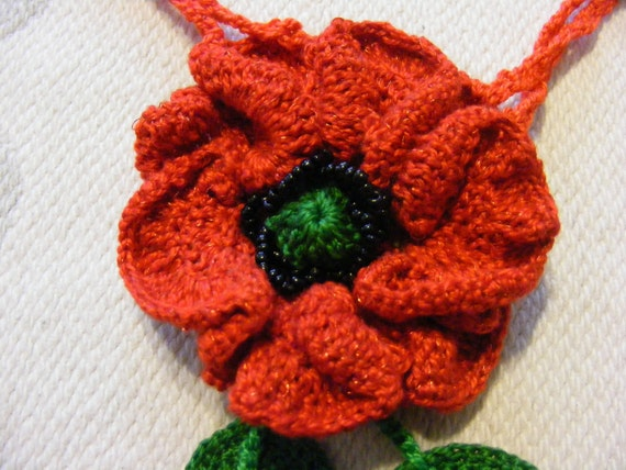 "Egyptian cotton crochet lame ""Poppies"" pendant - FREE SHIPPING"