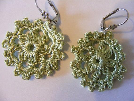 Thin silk brown, lavender and tea green handmade crochet flower earrings