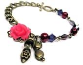 Shoes Women Bracelet,Sunglasses Charm Jewelry, Red Sunnies Purple Heels Bronze Bracelet,Purple Crystals Hot Pink Flower, Summer Fashion:HEEL