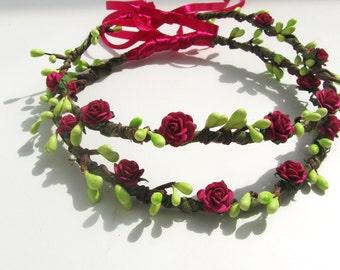 ESTELLA Rustic Halo Flower Girl Wreath Fuchsia - Wedding Photo Prop Baby Shower Birthday, headband, headpiece, crown, tiara