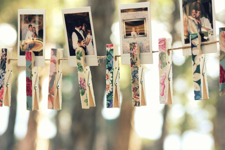 Floral Clothespins  Set Of 20 Pegs Wedding Decor  Les Fleurs Floral  Vintage Bohemian Escort