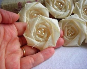 Ivory Wedding Rose Decor Fabric Flower Rosette Applique Rolled Rosette Flower Bridal Flower Pearls DIY Craft Supplies Sewing Supplies
