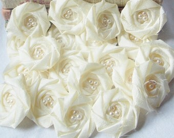 Ivory fabric flowers, wholesale fabric flowers, flowers for wedding bouquets, flowers bulk, flowers for hair