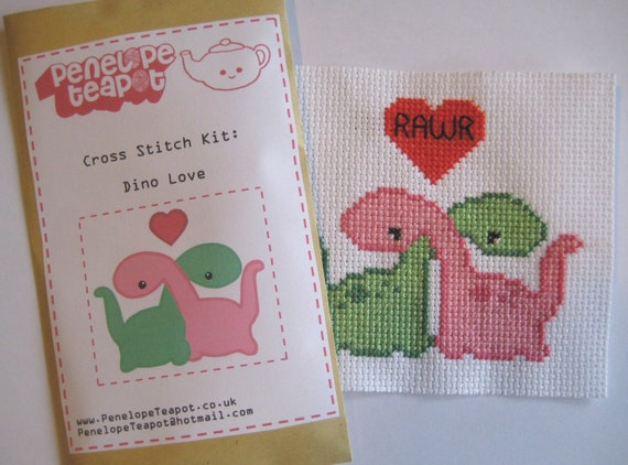 Dino Love Cross Stitch Kit
