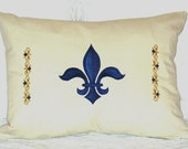 For LAUREN - French Fleur de Lis Throw Pillow COVER 12 x 16 in Blue/Gold/White/Natural