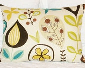 RETRO Throw Pillow COVERS - Natural/Brown/Turqoise/Yellow/Green 12 x 16