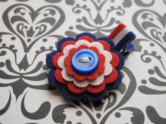 Navy Red and White Felt Hair Clip
