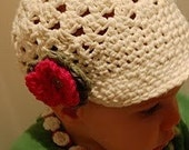 RESERVED listing for sterling5827 - Ecru Hat with brim and flower 6-12 months