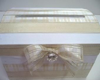 Large Wedding Card Box Wedding Card Gift Box Money Card Box Wedding Card Holder - Custom Made-Ivory and White Sheer Plaid Wedding Gift Box