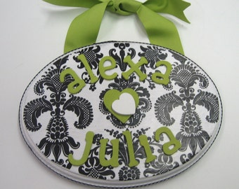 Name Plaque Black and White Damask with Lime -  2 Names 1 Plaque