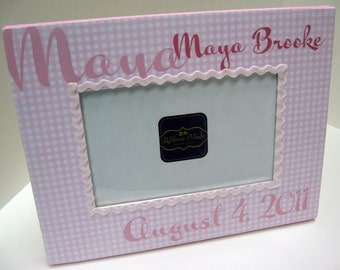Baby Girl Personalized Birthdate Frame