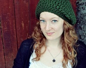 Chunky Slouchy Hat in Forest Green