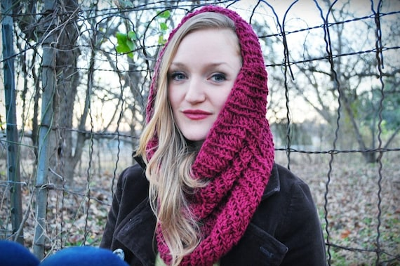 Crocheted Cowl Scarf in Dark Rose - Ready to Ship