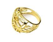 Sunflower ring 14K Gold fill flower ring gold stacking ring 14k gold plated ring nature sunflower jewelry