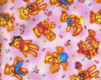Cotton Fabric - Scattered Teddy Bears on Pink  - 58 inches Wide - by the yard