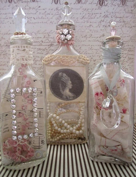 Shabby Chic Vintage Treasure Bottles Set of 3