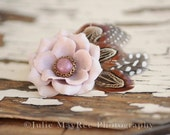 Feather hair Clip  fall flower clip Victorian Mauve vintage Pink  ladies womens photography prop girls bow flower petite fleurs by bellasma
