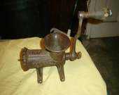 ENTERPRISE TINNED MEAT GRINDER, NO. 12, CAST IRON, COLLECTABLE, WOOD HANDLE