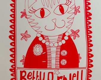 Betty Purrwell Screenprint -- Artists Proof