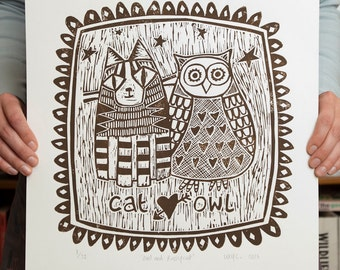 Owl and Pussycat Linocut -- Limited Edition