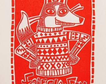 Red Fox Linocut -- Limited Edition
