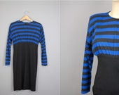 vintage 80sblue stripe top black bottom bodycon mini dress S/M
