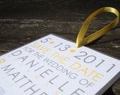 Square Save The Date - curry/mustard yellow and slate gray (sample) - FREE SHIPPING