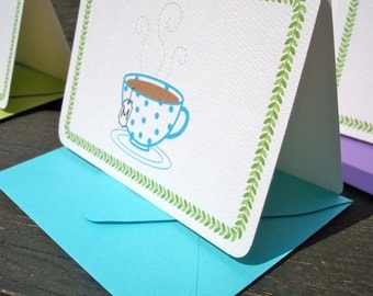 Personalized Rainbow Polka Dot Tea Cup Note Cards - Set of 6